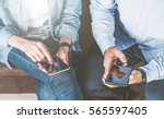 close up of smartphones in... | Shutterstock . vector #565597405