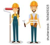 builders group avatars... | Shutterstock .eps vector #565605325