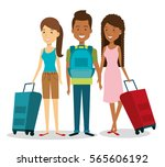 travelers group with suitcases... | Shutterstock .eps vector #565606192