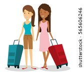 travelers group with suitcases... | Shutterstock .eps vector #565606246