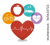 healthy heart cardio icon | Shutterstock .eps vector #565610722