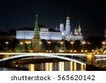 night view of the kremlin in... | Shutterstock . vector #565620142