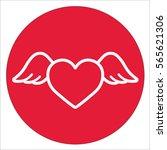 heart wings fly romantic line... | Shutterstock .eps vector #565621306