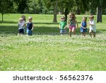 sunny day in the park with... | Shutterstock . vector #56562376