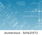 blueprints. mechanical... | Shutterstock .eps vector #565625572