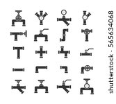 vector icon set pipe parts.... | Shutterstock .eps vector #565634068