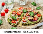 kale oats pizza crust with... | Shutterstock . vector #565639546