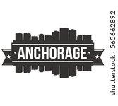 anchorage skyline stamp... | Shutterstock .eps vector #565662892