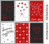 collection of 6 cards of love... | Shutterstock .eps vector #565665616