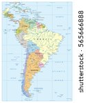 political map of south america... | Shutterstock .eps vector #565666888