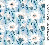 vector hand painted floral...   Shutterstock .eps vector #565668226
