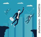 flying businessmen are avoiding ... | Shutterstock .eps vector #565668556