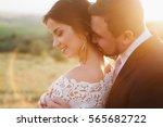 beautiful bride and groom... | Shutterstock . vector #565682722