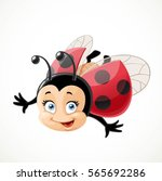 Cute Cartoon Ladybug Fly On...