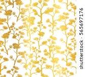 vector golden asian trees... | Shutterstock .eps vector #565697176