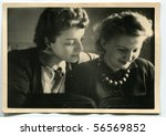 Vintage portrait of two women - stock photo