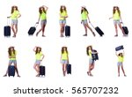 young woman with suitcase... | Shutterstock . vector #565707232