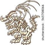cartoon skeleton dragon. vector ... | Shutterstock .eps vector #565708066
