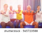 portrait of seniors using... | Shutterstock . vector #565723588