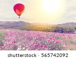 hot air balloon over the cosmos ... | Shutterstock . vector #565742092
