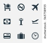 set of 9 simple plane icons.... | Shutterstock .eps vector #565758955