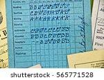 close up of old school report... | Shutterstock . vector #565771528