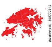 red map of hong kong | Shutterstock .eps vector #565772542