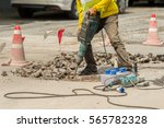 male worker with safety... | Shutterstock . vector #565782328
