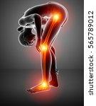 3d illustration of pain in leg | Shutterstock . vector #565789012