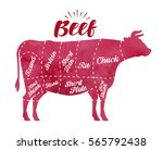 diagram cutting cow meat.... | Shutterstock .eps vector #565792438