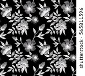 floral seamless pattern with... | Shutterstock . vector #565811596