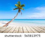 Empty Wooden Pier On Caribbean...