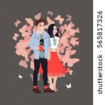 be my valentine greeting card...   Shutterstock .eps vector #565817326