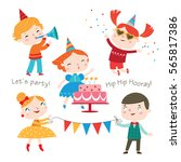 children having fun at birthday ... | Shutterstock .eps vector #565817386