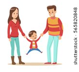 happy family with father ... | Shutterstock .eps vector #565820848
