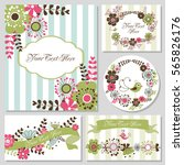 set of cute card with flowers.... | Shutterstock .eps vector #565826176