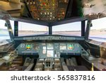 Small photo of Inside airplane pilot cabin.