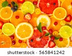 beautiful fresh sliced mixed... | Shutterstock . vector #565841242