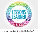 lessons learned word cloud ... | Shutterstock . vector #565844266