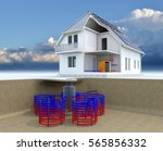 geothermal powered house with... | Shutterstock . vector #565856332