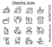 cleaning   hygiene icon set in... | Shutterstock .eps vector #565857325