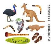 australia symbols set isolated... | Shutterstock .eps vector #565865392