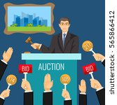 auction vector process with man ... | Shutterstock .eps vector #565866412