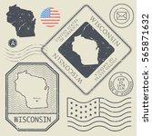 retro vintage postage stamps... | Shutterstock .eps vector #565871632