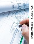 blueprints and architect's hand ... | Shutterstock . vector #56587765