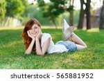 woman on the lawn  the woman on ... | Shutterstock . vector #565881952