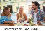 group of young people laughing...   Shutterstock . vector #565888318