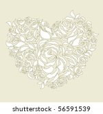 floral heart wedding card | Shutterstock .eps vector #56591539