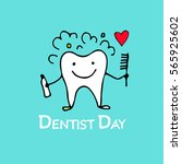 dentist day  tooth character... | Shutterstock .eps vector #565925602
