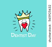 happy dentist day  tooth sketch ... | Shutterstock .eps vector #565925632